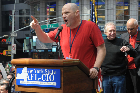 "UFT Presidensts at the ""We Are One"" rally at Times Square.t Michael Mulgrew addr"