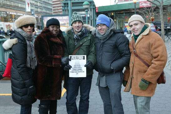 Art and Tech HS Chapter Leader Lia Gneano, UFT Special Representative Zina Burton-Myrick, HS for Health Career and Science Chapter Leader Sam Morris, and Stuart Kaplan and Peter O'Donnell, chapter leaders of Martin Luther King HS for Law, Advocacy and Community Service, pass out leaflets. (Bruce Cotler)