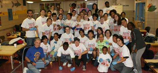 New York Cares paints PS 396, Brooklyn