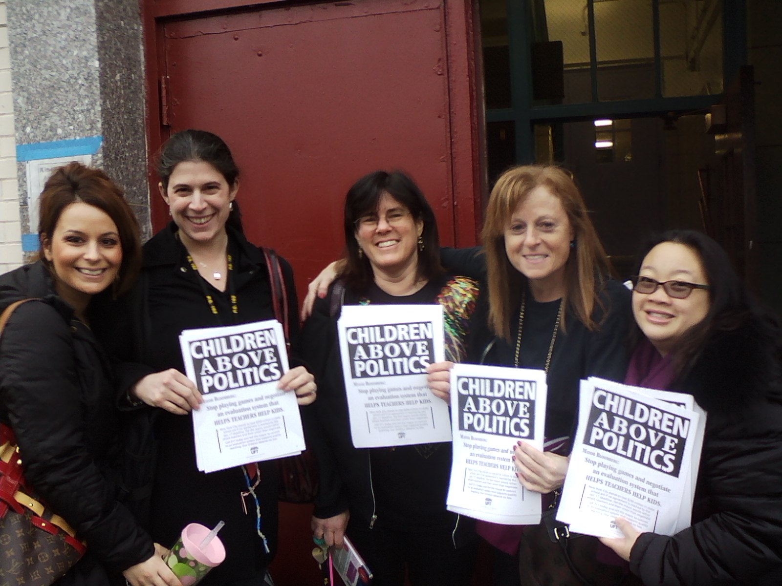 Teachers Lisa Schender, Andrea Cassidy, Terri Ackerman, Chapter Leader Susan Singer, and Jen Leung of PS 162, Queens.