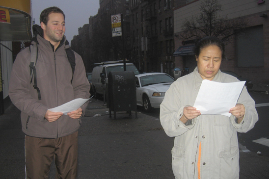 Member Sean Lasky of IS 125 in Queens distributes leaflets.