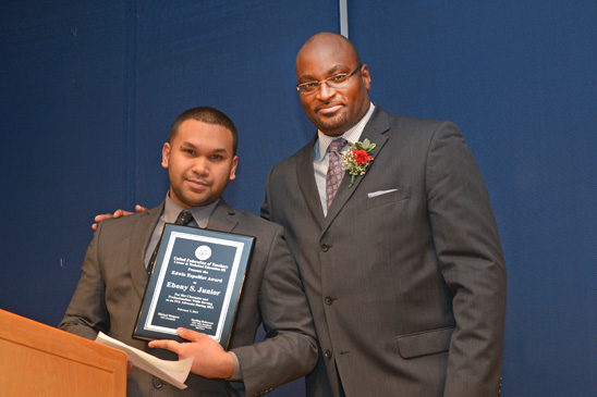 Edwin Espalliat Award: Adrian Sookchan (5th year SUA) with Sterling Roberson. (Miller Photography)