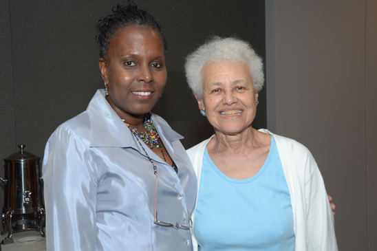 Laval-Friedman (left) with retired junior high school teacher Margaretta BoBo Goines. Goines taught at Manhattan's JHS 43. (Miller Photography)