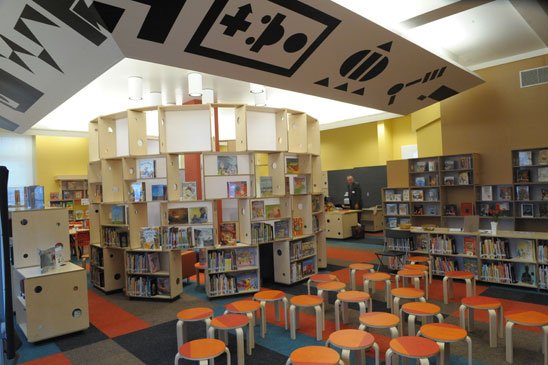 After only two years, the striking new library at PS 216 in Brooklyn is open onl