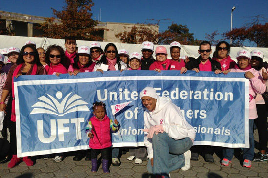 UFT Borough Representative Jose Vargas and members from the Bronx at Orchard Beach.