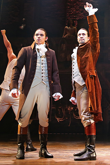 "Anthony Ramos (front, left), one of the stars of the Broadway musical ""Hamilton,"