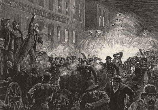 Anti-union lithograph from Harper's Weekly depicts the homemade bomb going off a