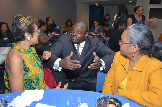 UFT Vice President for CTE Education Sterling Roberson (center) meets ...