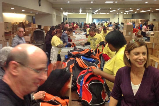 UFT members and staff fill thousands of backpacks with school supplies for students from the hardest-hit neighborhoods.