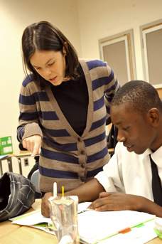 In the club's tutoring program, teacher Megan Purvis of Manhattan's Harbor Schoo