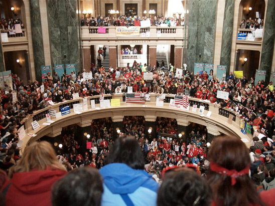 Hundreds of Wisconsin's public employees and supporters pack the Capitol in Madi