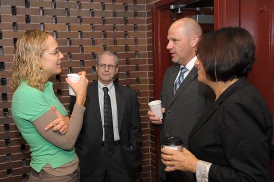 Teacher Joanna Rich, of PS 503, talks with UFT Brooklyn Borough