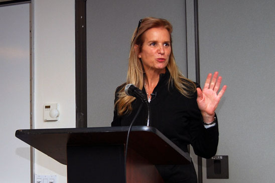 Kerry Kennedy, the president of the Robert F. Kennedy Center, gets applause from
