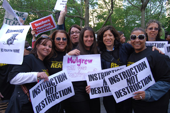"Nancy Hovis (at far left), the chapter leader from PS 226  in Bensonhurst, said, ""We're an A school and we'd like it keep it that way. These layoffs would mean cuts in services and programs and larger class sizes."" (Cara Metz)"