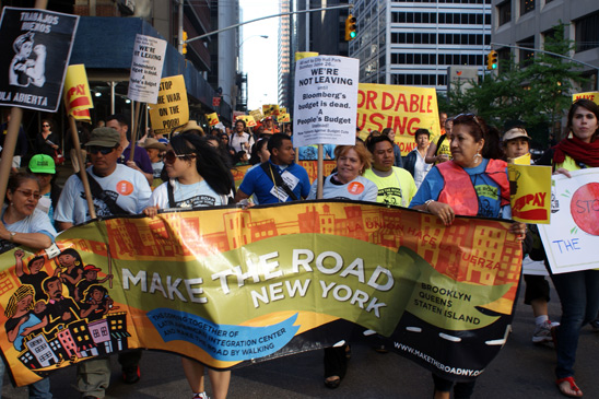 Immigrant workers from worker center Make the Road New York join the rally. (Micah Landau)