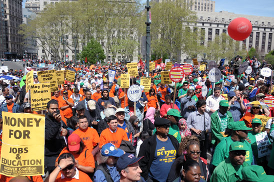 The labor-sponsored May Day rally at Foley Square this year was everything that