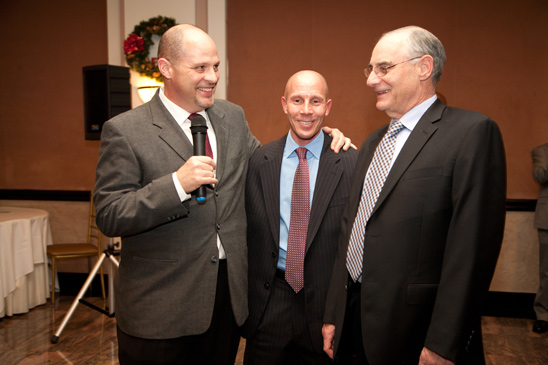 Mulgrew with District 18 Representative Rich Mantell and District 19 Representative Allan Weinstein. (Pat Arnow)