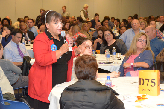 UFT Vice President for Special Education Carmen Alvarez makes a comment. (Miller Photography)