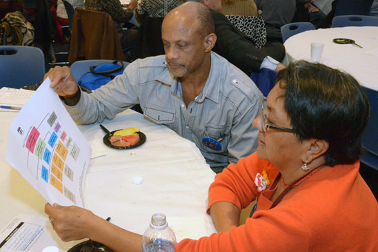 Cecilia Cortez of Hearing Education Services in Brooklyn and Mauricio King of PS 12 in the Bronx look over a District 75 organizational chart. (Miller Photography)