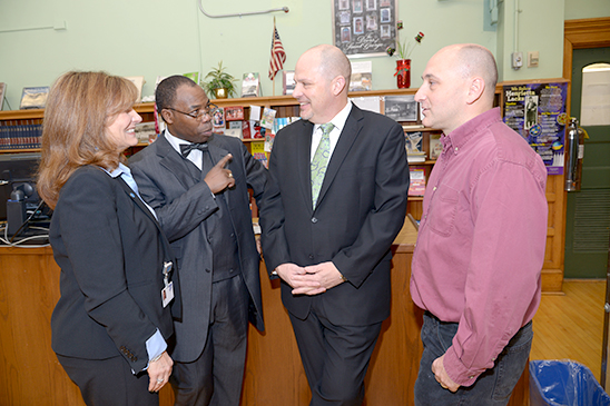 Mulgrew (third from lift) chats with (from left) UFT Staten Island ...