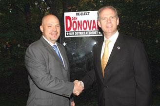 UFT President Michael Mulgrew (left) greets Staten Island District Attorney Dan