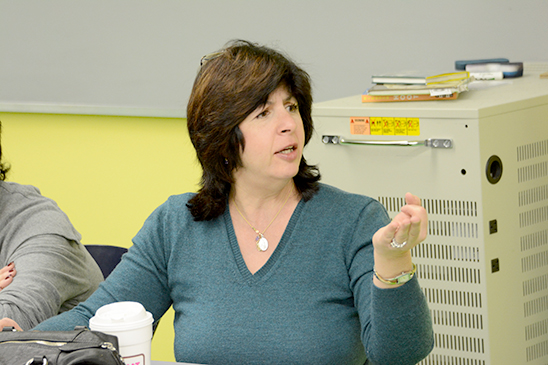 Math teacher Margaret Ponterella makes a point. (Miller Photography)