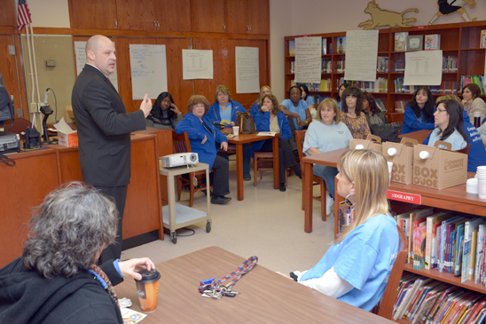 UFT President Michael Mulgrew speaks with the staff of PS 272 in Brooklyn. (Miller Photography)