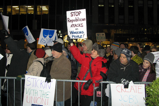 New Yorkers at a Feb. 22 rally show they are with Wisconsin workers.