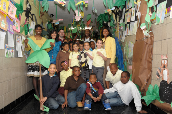The 3rd-grade rainforest crew at PS 273, with co-teachers Curtis (left, in blue)
