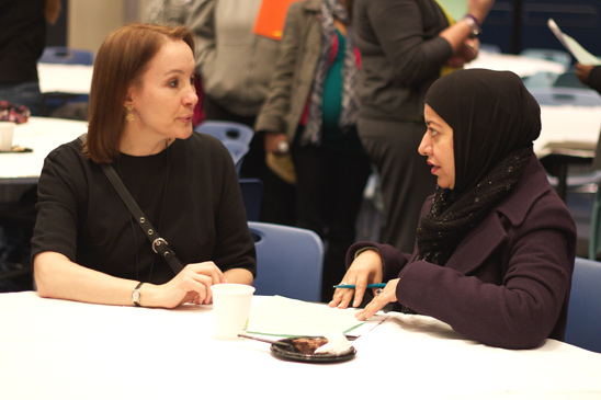 Brooklyn Educational Liaison Nadine Reis in discussion with Mussarat ...