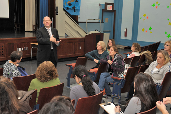 Uft president michael mulgrew brings staff at ps 107 up to date on
