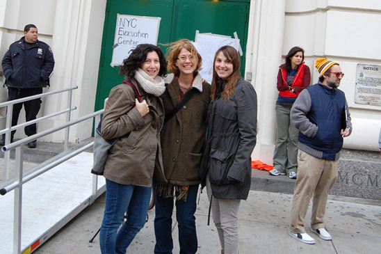 Teachers Karyn Wulwick, Karen Bacal and Elissa Spencer of PS 321, Brooklyn, volunteering at the evacuation center at the John Jay HS site. (Cara Metz)