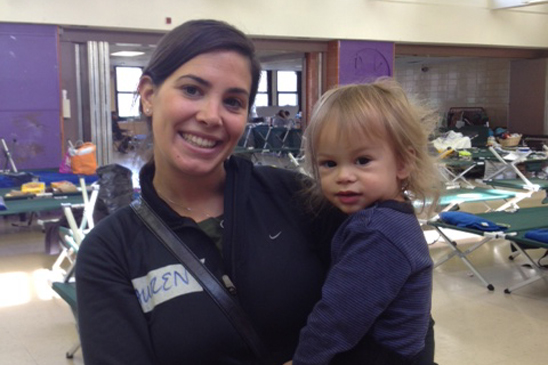 Lauren Russo of PS 100 in Brooklyn participates in the relief effort at Tottenville HS, which gave shelter to hurricane evacuees.