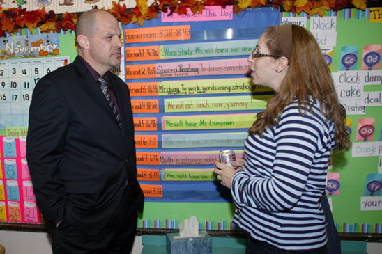 Teacher Sharon Ugowitz gets some face time with Mulgrew.