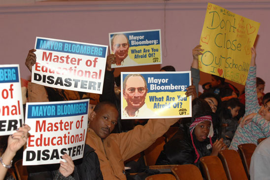 Parents and students are among those opposed to the planned closing of PS 215, Q