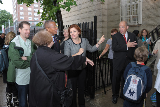 City Council Member Robert Jackson, Speaker Christine Quinn and Mulgrew show par