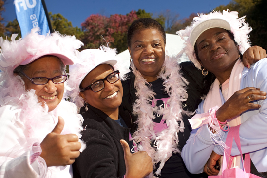 From left, Yvonne Ben Aaman, retiree and survivor; Deborah Alexander, speech teacher; Jean Derico, chapter leader; and Vilma Guity, paraprofessional, represent PS 243 at the Brooklyn Making Strides walk. (Dave Sanders)