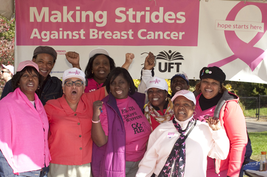 Members working the UFT booth at the Making Strides walk in Brooklyn. (Dave Sanders)
