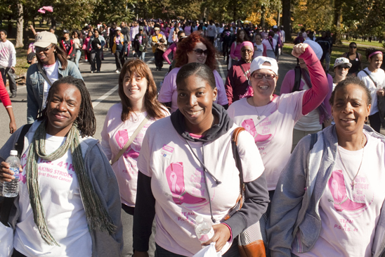 Representing PS 41, Brooklyn, in the Prospect Park walk are (from left) Chapter Leader Sonja Hill and teachers Amy Hemlock, Ashley Venable, Dafna Alma and Lachaun McDonald. (Dave Sanders)
