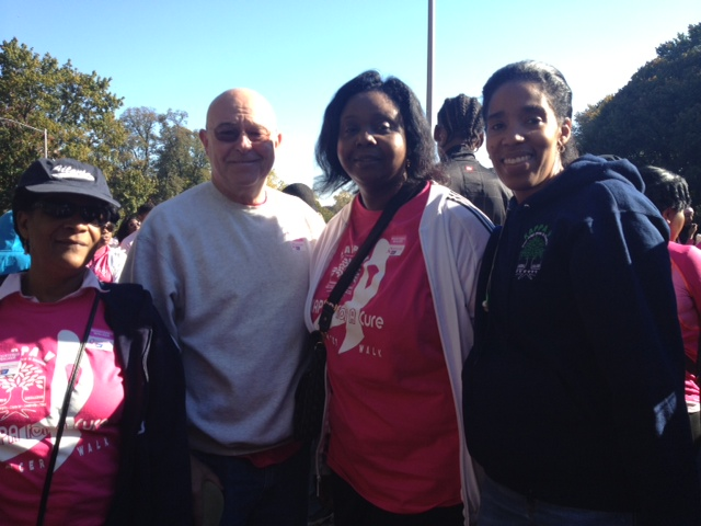 Linda Pearson, librarian; Thomas Mullin, assistant principal; Michele Moncrieffe and Karyl Franklin of Kappa V walk in Prospect Park.