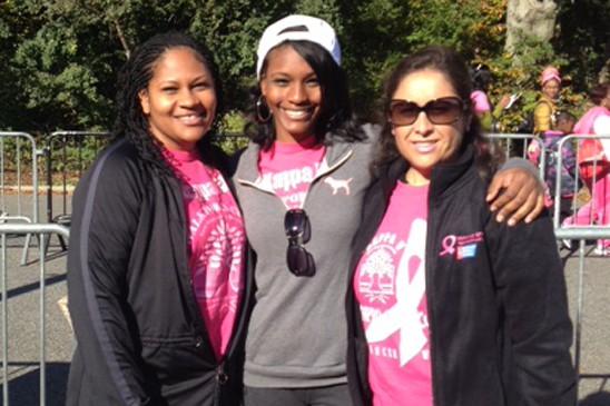 District 23 Representative Ualin Smith with her daughter and Adriana O'Hagan, chapter leader of KAPPA V, walk in Brooklyn.