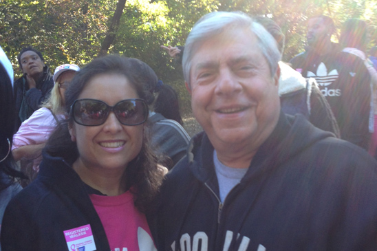 Brooklyn Borough President Marty Markowitz with Chapter Leader Adriana O'Hagan of KAPPA V in Prospect Park.