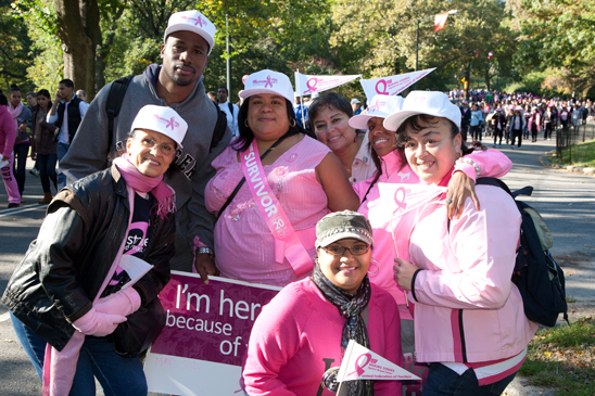 PS 182, the Bilingual Bicultural Mini School, Manhattan, is represented by Debbie Reyes, Chapter Leader Rachel Cotto-Berrios (studded cap), Millie Santiago (pink scarf) and Carmen Rodriguez (white hat) at the Making Strides Walk in Central Park. (Pat Arnow)
