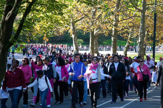 Making Strides participants walk through Central Park. (Pat Arnow)