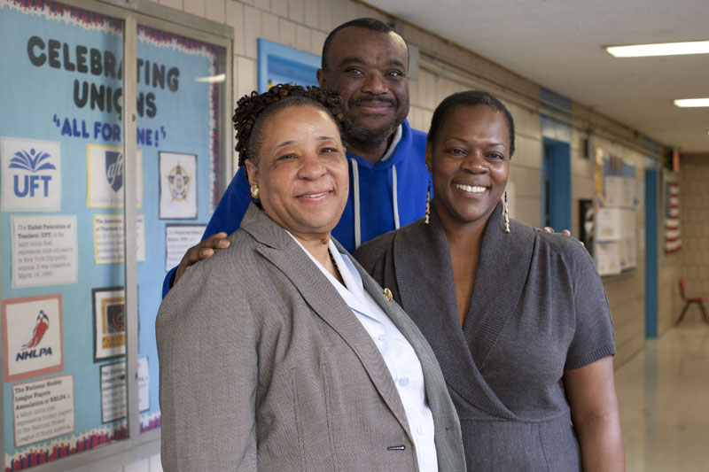 School head Sheila Evans-Tranumn (left) with elementary academy PTA President Ch