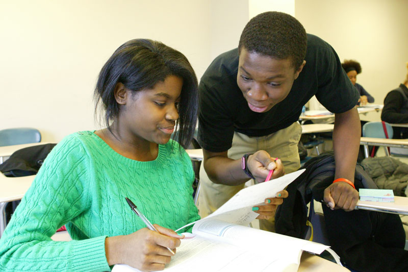 Seniors from the UFT Charter School's secondary academy take part in a College N