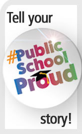 Tell your #PublicSchoolProud story sidebar promo graphic