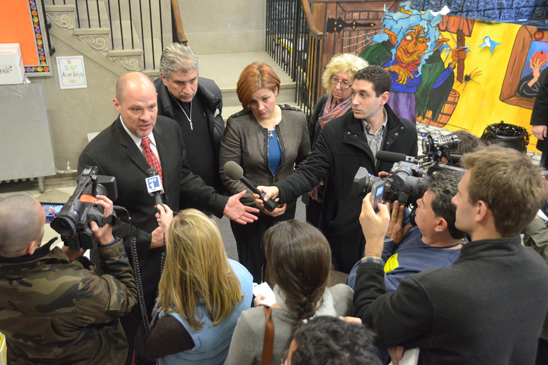 UFT President Michael Mulgrew, joined by (from left) City Councilman Domenic Recchia, City Council Speaker Christine Quinn and UFT District 21 Representative Judy Gerowitz, reports to the press from Brooklyn's PS 212, which will host students from PS 188, on school conditions citywide. (Miller Photography)