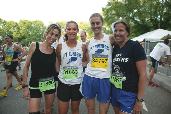 Members of the women's team — (from left) McGurk, DePasquale, Dole and Mair — af