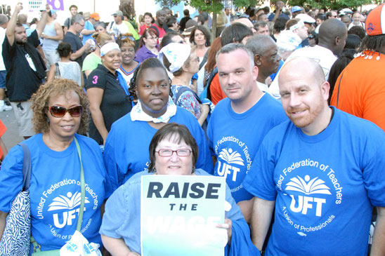 UFTers like (from left) Bronx educators Dorothy Evans of PS 75 and Erica Brown o